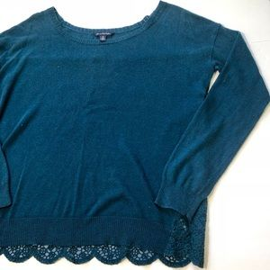 American Eagle Long Sleeve Lace Back Sweater